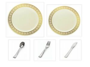 Image is loading Decorline-China-like-Cream-Gold-Plastic-Plates-w-  sc 1 st  eBay & Decorline China-like Cream/Gold Plastic Plates w/ Cutlery Wedding ...