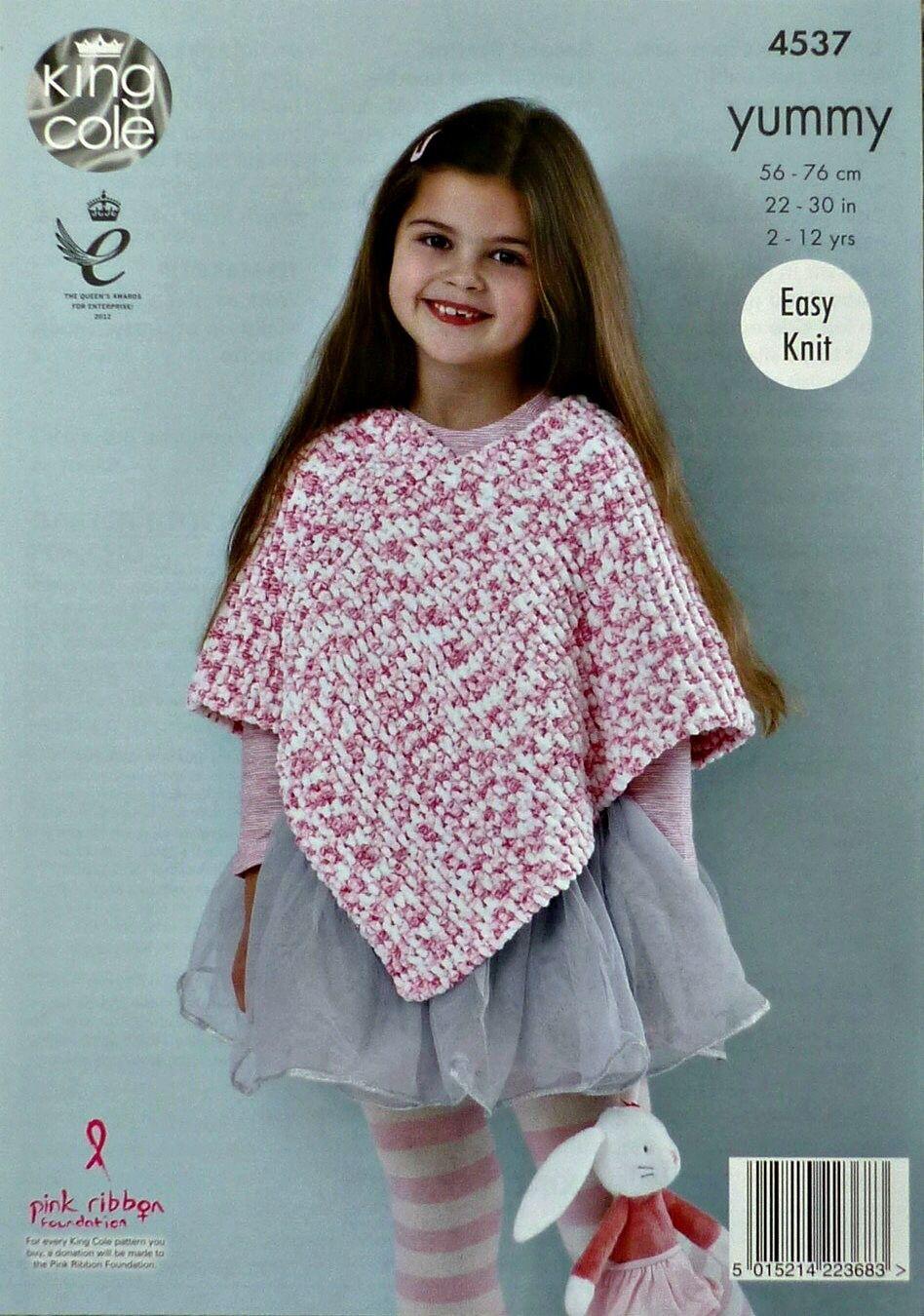 King Cole Yummy Knitting Pattern 4537 Easy Knit Ponchos   eBay