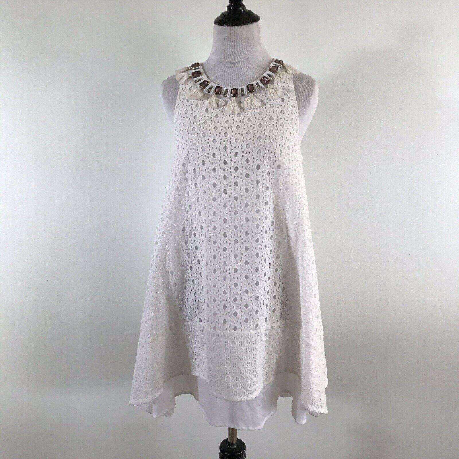 Rosao Weiß Eyelet Lace Dress Sleeveless Embellished Neckline Größe 8