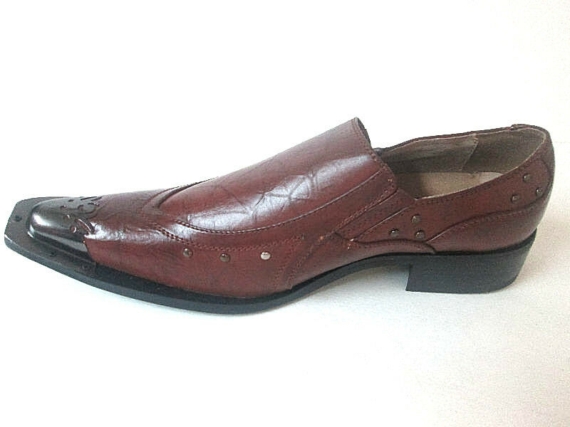 Majestic Brown Slip-On Loafer uomo Dress Shoes Pointy-Toe Steel Tip 95202 *RARE* Scarpe classiche da uomo