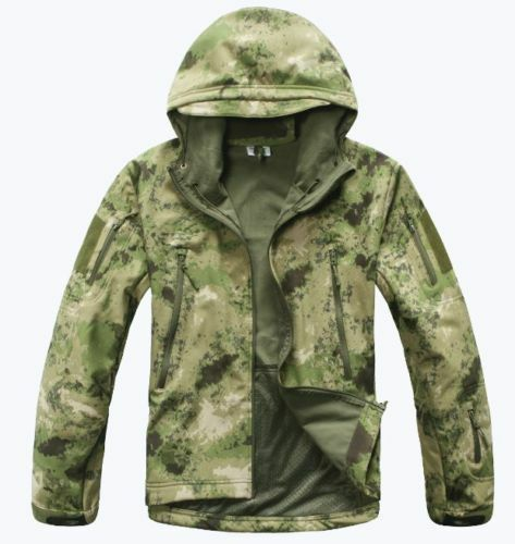 Men Outdoor Waterproof Fleece Jacket SharkSkin SoftShell Coat TAD Hoodie Hunting
