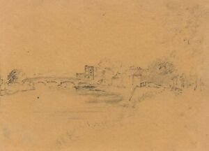 William Burgess of Dover, River with Medieval Bridge –Early 19th-century drawing