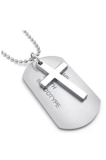 Men's Necklace Army Style Cross Tags Dog Tag Alloy Pendant with 68cm Chain O1J5
