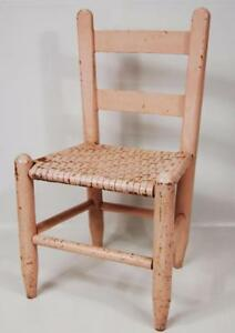 Image Is Loading Antique Child Size Ladder Back Cane Chair