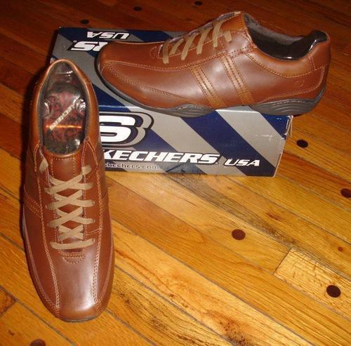 Skechers Men's Volar Tan (Light Brown) Casual Leather Shoes SIZES! NIB