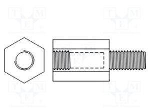 10 St PüNktlich Distanzmuffe Mit Gewinde; Sechskant; Polyamid; M2,5; M2,5; L:9mm Abstandhalter & Distanzstücke