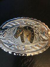Fancy detailed Belt Buckle Western Horse Head Horse Shoe