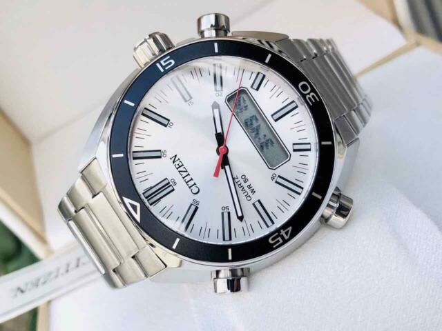 Citizen JM5460-51A Quartz Multi-function Analog Digital Stainless Steel Watch