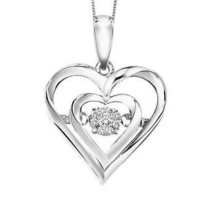Rhythm of love dancing heart diamond pendant in sterling with 18 image is loading rhythm of love dancing heart diamond pendant in aloadofball Image collections
