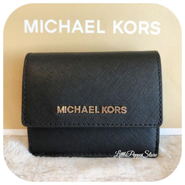 42a4c304042d Michael Kors Jet Set Travel Black Leather Card Case ID Key Holder 35f7gtvd2l