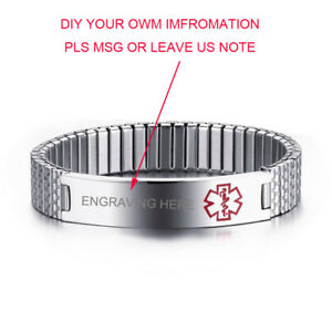 Emergency-Silver-Women-Medical-Alert-ID-Stretch-Spring-Bracelet-Custom-Engraving