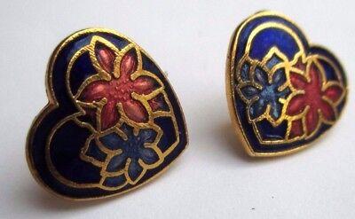Boucles D'oreilles Percées Couleur Or Bijou Vintage Cœur émail Cloisonné 706 Prezzo Ragionevole