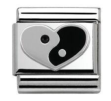 YIN YANG LOVE HEART Genuine NOMINATION Classic Link 9mm Italian Charm Two halves