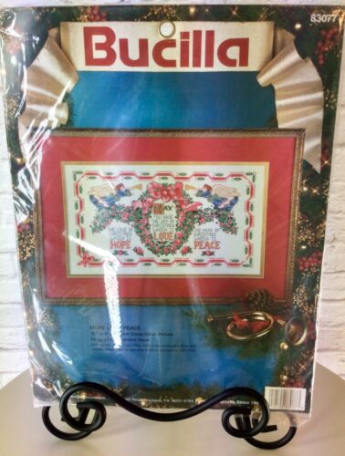 Bucilla Hope Love Peace Christmas 16x9 Cross Stitch picture Hayes angels wreath