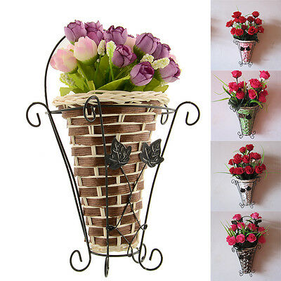 Vintage Weave Vine Wall Hanging Artificial Flower Plant Basket Decor New