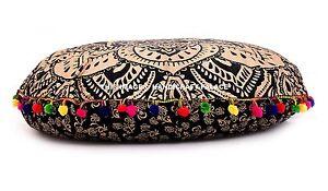 Indien Doré Ombre Mandala Pouf Coussin Rond Pom Dentelle Décor Ottomane Pouf