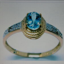 BEAUTIFUL  9CT YELLOW GOLD OVAL NATURAL BLUE TOPAZ & DIAMOND RING SIZE O IN  BOX