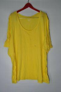 Lane-Bryant-Yellow-T-Shirt-Scoop-Neck-Short-Sleeve-Womens-Plus-Size-26-28