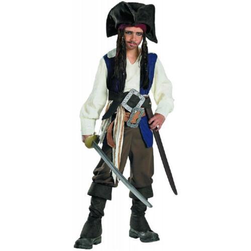 Captain Jack Sparrow Pirates Caribbean Fancy Dress Up Halloween Child Costume