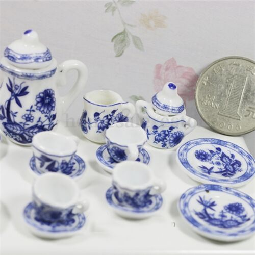 15PCS Dollhouse Miniature 1//12 Dining Blue Floral Ceramic Tea Set Pot Cup Plate