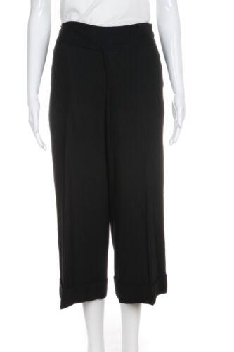 CLUB MONACO Culotte Dress Pants 8 Black Cuffed Cap