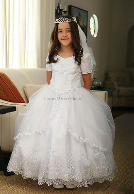 NEW FORMAL SHORT SLEEVE CHRISTENING DRESS FLOWER GIRL FIRST COMMUNION WHITE GOWN