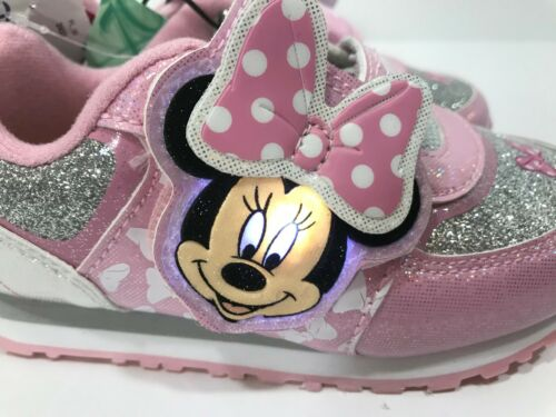 9 /& 11 NEW! Disney Minnie Mouse Pink//Silver Light Up Baby//Toddler Shoes Size 7