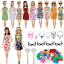 thumbnail 4 - Clothes And Accessories For Barbie Doll 32 Pcs Party Dress Outfit Glasses Shoes