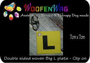 NEW-assistance-dog-WOVEN-Service-Dog-clip-on-big-L-plate