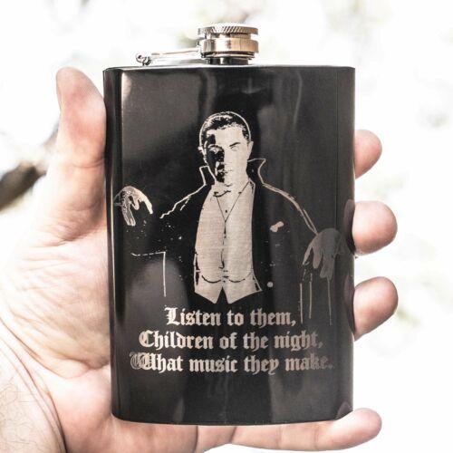 8oz BLACK Children of the Night Flask L1
