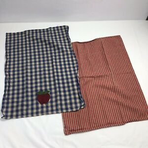 Details About Set Of Two Country Barn Red And Tan Plaid Kitchen Towels Blue  And Cream Checked