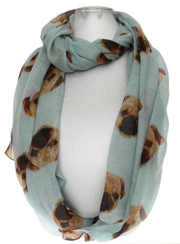 Pug Dog Print Scarf Womens Shawl Maroon Navy Pink Grey Gift Wrap