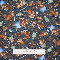 Nature Fabric - Ramblin' Woods Bear Squirrel Toss Blue - Rjr Cotton Yard