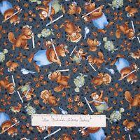 Nature Fabric - Ramblin' Woods Bear Squirrel Toss Blue - Rjr Cotton Yard