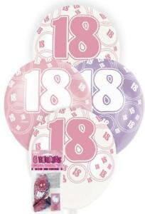 Image Is Loading 6 Glitz 18th Birthday Decorations Latex Helium Balloons