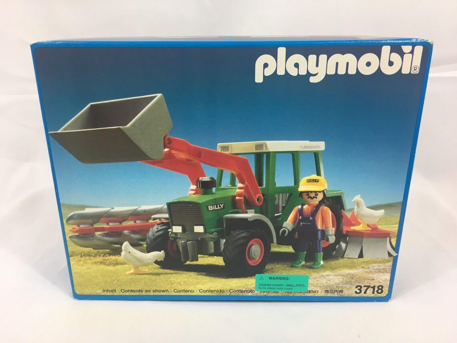 NEW 1992 PLAYMOBIL 3718 FARM FRONT LOADER  TRACTOR TILLER  MINT SEALED BOX