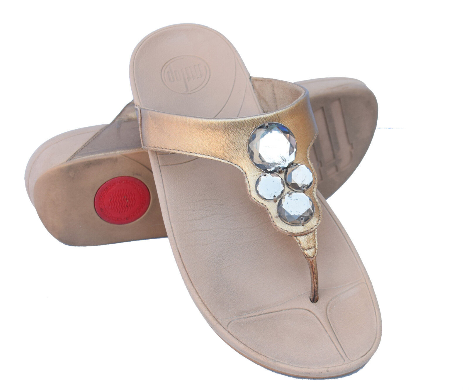 FITFLOP Lunetta Jeweled Metallic Fit Flops Padded Comfort