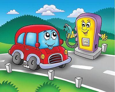 Klara Viskova: Auto Tankstelle Fertig Bild 24x30 Wandbild Kinder  Kinderzimmer