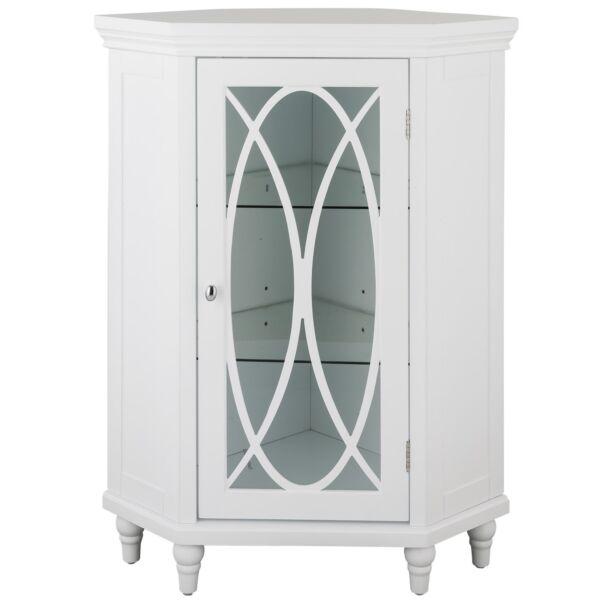 Florence Corner Floor Cabinet With Gl Door In White For Bathroom Storage