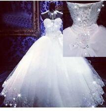 UK Luxury White/Ivory  Wedding Dress Bridal Ball Gown Size 6-22