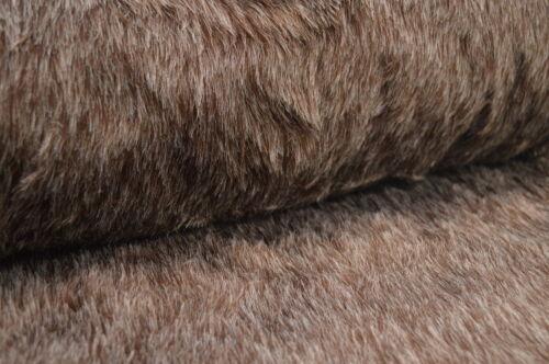 Plüschstoff Fellstoff Kunstfell braun grau meliert Stoff  Meterware Plüsch braun