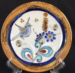 "Ken Edwards Mexican Tonala El Palomar Bird Decorative Hanging Wall Plate 8"""