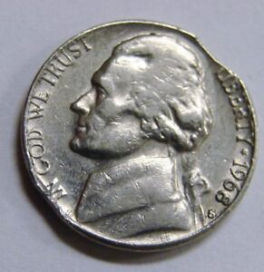 Details about 1968 S - Jefferson Nickel - Clipped - Mint Error