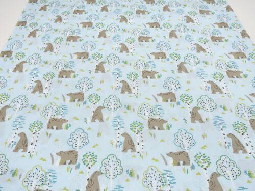 Tela de algodón popelín osos árboles azul claro marrón verde niños de tela ligera