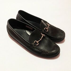 f4bbf4e1fb7 Peter Huber Mens Black Leather Slip On Loafer Shoes Horse Bit Size 9 ...