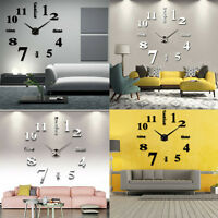 Horloge Mural Pendule Montre Clock Mirroir Sticker DIY 3D Art Decor Salon Maison