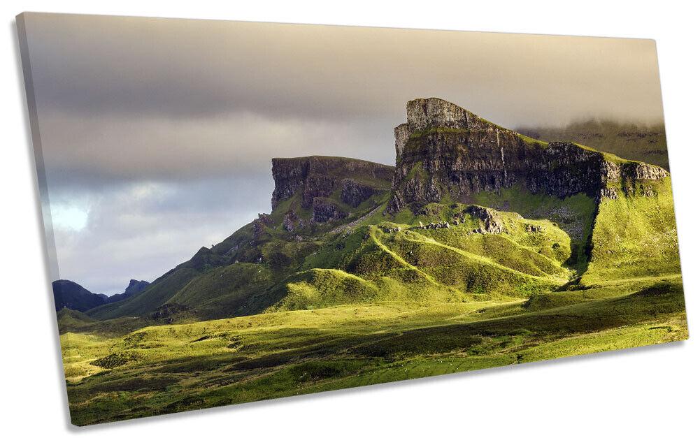 Trotternish Ridge Isle of Skye Bild PANORAMIC CANVAS Wand Kunst Drucken Grün