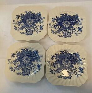 Vtg Royal Doulton Kirkwood Blue Dinnerware Luncheon Plate Salad Dessert Set Of 4