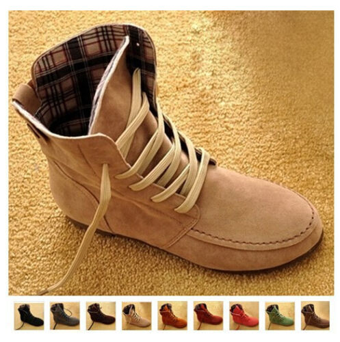 Women/'s Ankle Boots Nubuck Leather Moccasins Lace-Up High top Shoes US Size 5-9