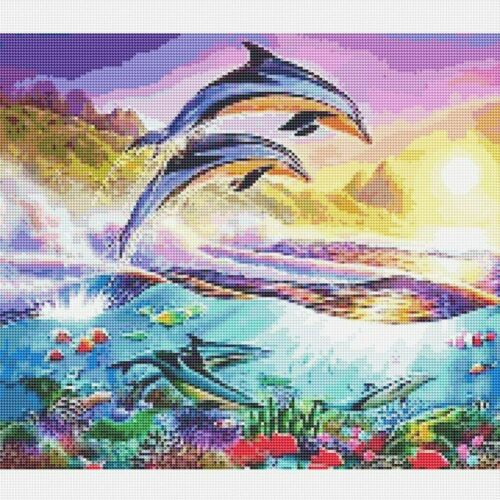 Full Drill 5D DIY Diamond Mosaic Active Dolphins Cross-Stitch Kits Home Art